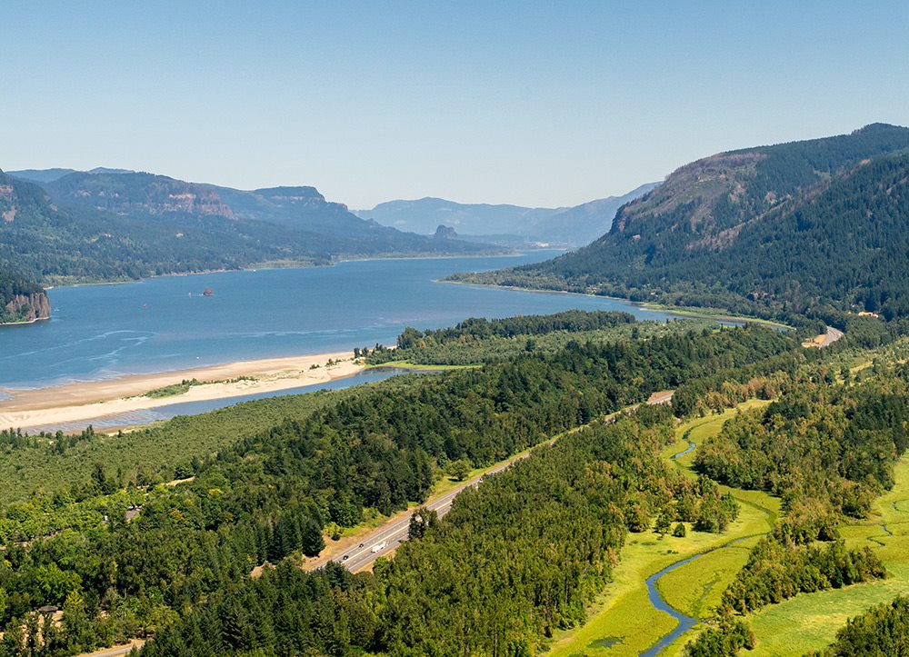 the view of the columbia gorge from vista house at crown point l